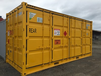 Storing dangerous goods in shipping containers.